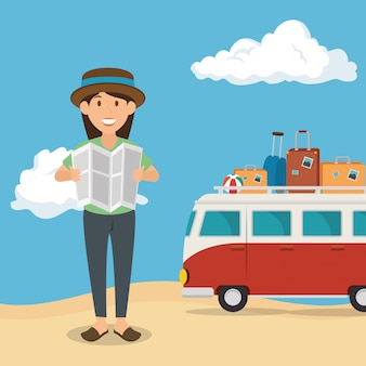 Donna nel personaggio spiaggia