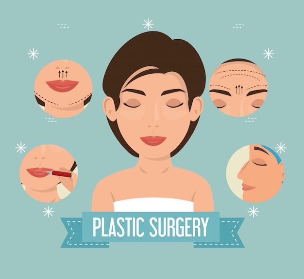 Donna nel processo di chirurgia plastica