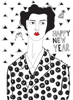 Donna nella notte di capodanno. illustrazione in bianco e nero
