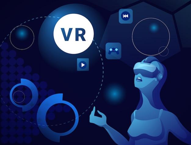 Donna nella realtà virtuale che indossa il concetto moderno di tecnologia di simulazione della cuffia avricolare di vr