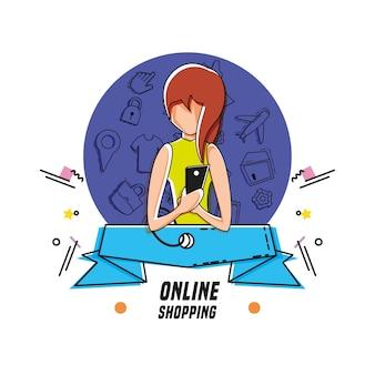 Donna personaggio con lo shopping icone online