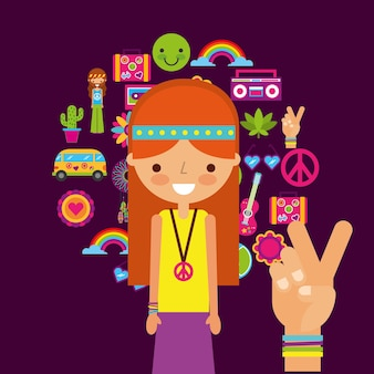 Donna personaggio hippy mano pace e amore