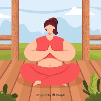 Donna piatta godendo la meditazione