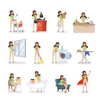 Donna pulita a casa e facendo i lavori domestici
