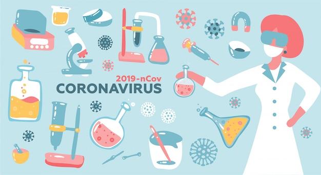 Donna scienziato o dottore ricerca coronavirus cov in laboratorio con dotazione di vetro per matracci. salute e medicina illustrazione piatta.
