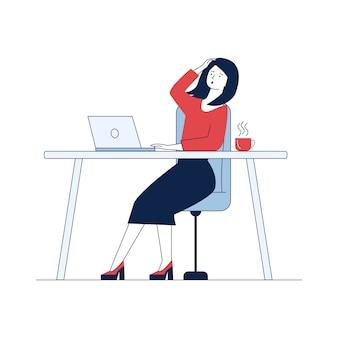Donna scossa che per mezzo del computer portatile