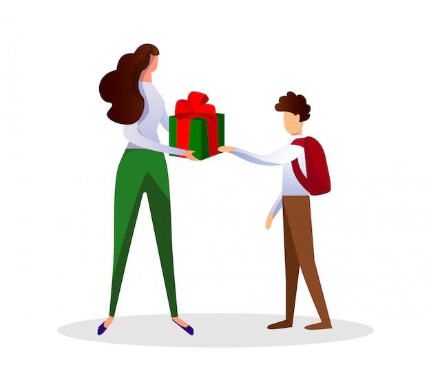 Donna senza volto che dà scatola regalo al ragazzo bambino.