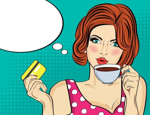 Donna sexy pop art con tazza di caffè. manifesto pubblicitario in stile fumetto. vettore