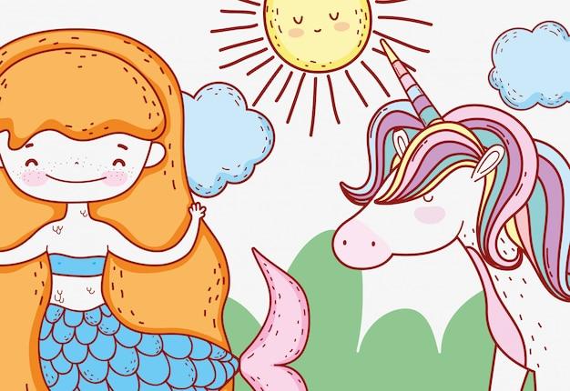 Donna sirena con sole e unicorno carino