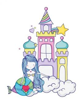 Donna sirena e pianeta con il cuore nel castello