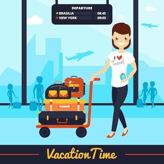 Donna sorridente con l'illustrazione dei bagagli