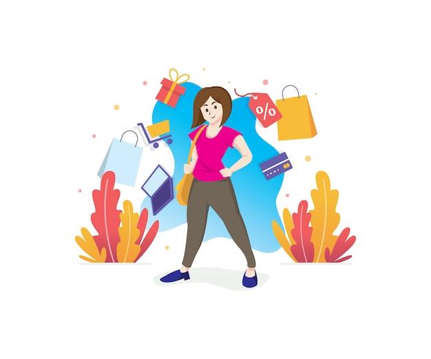 Donna sorridente con l'illustrazione di concetto di acquisto