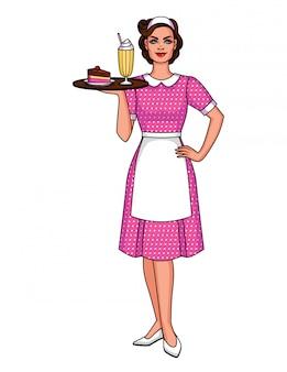 Donna sorridente in grembiule con frappè e dessert