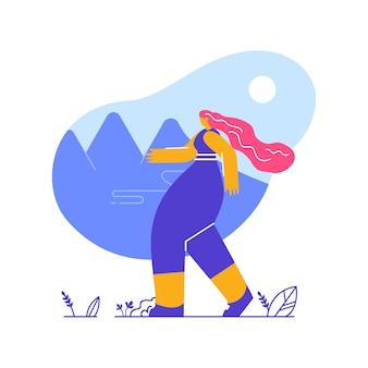 Donna sull'illustrazione piana di vettore della passeggiata all'aperto