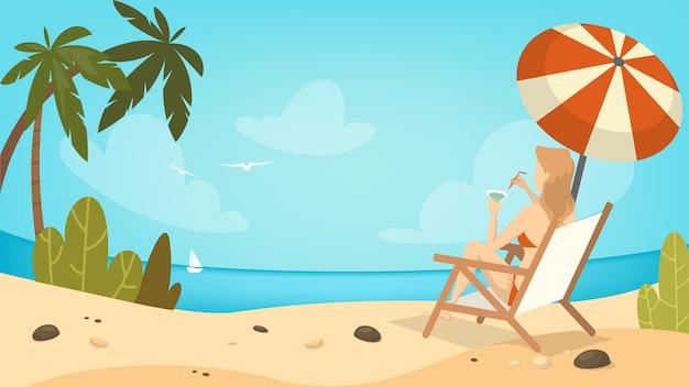 Donna sulla spiaggia rilassante sulla sedia in vacanza.