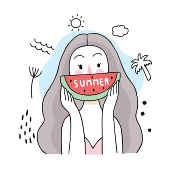Donna sveglia di estate del fumetto che mangia anguria.