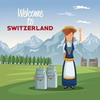 Donna tradizionale con barattoli di metallo con latte e testo benvenuto in svizzera