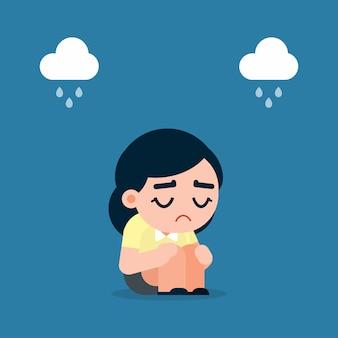 Donna triste e stanca di affari con la depressione che si siede sul pavimento, illustrazione di vettore del fumetto.
