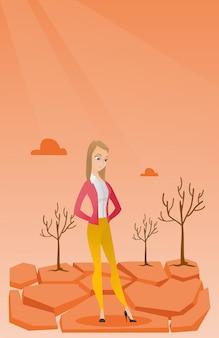 Donna triste nell'illustrazione di vettore del deserto.