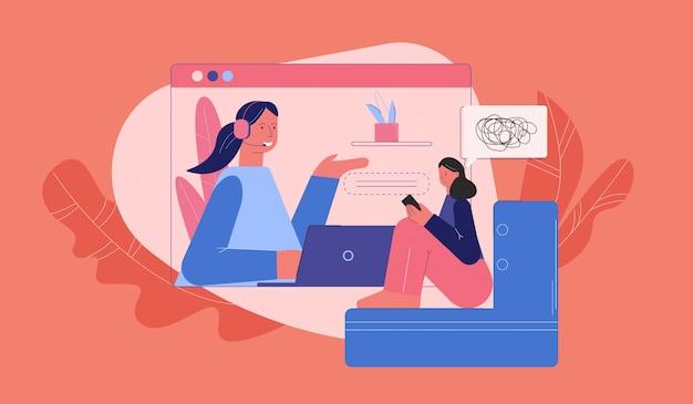 Donna turbata alla consulenza con l'illustrazione online dello psicologo