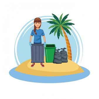 Donna volontaria pulizia spiaggia