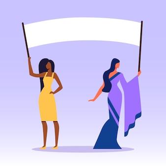 Donne africane e indiane con cartelli sullo sciopero