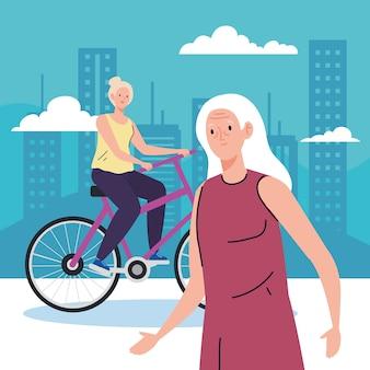 Donne anziane che fanno diverse attività e illustrazione di hobby
