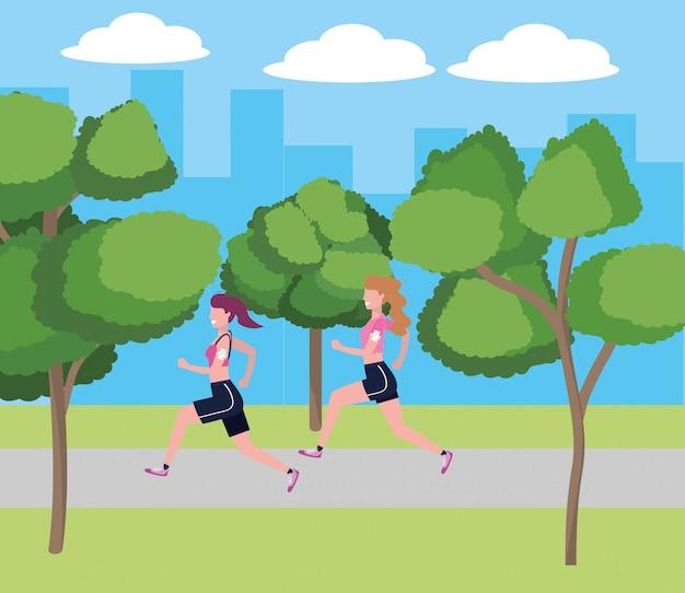 Donne che corrono con abbigliamento sportivo