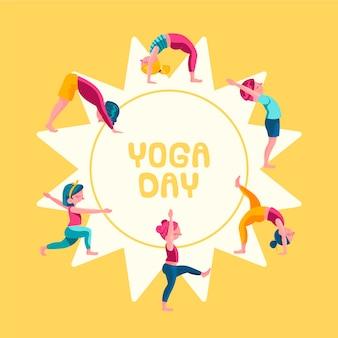 Donne che fanno disegno disegnato a mano di yoga