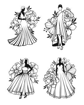 Donne che indossano abiti lunghi con decorazioni floreali