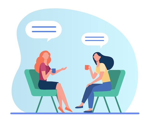 Donne che parlano sopra una tazza di caffè. amici femminili che si incontrano nella caffetteria, illustrazione piana di vettore delle bolle di chat. amicizia, comunicazione