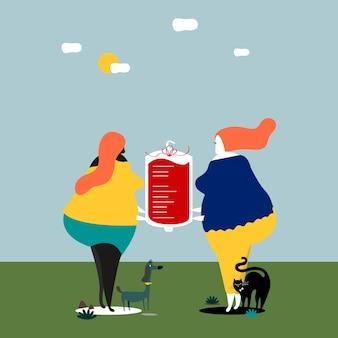 Donne che scambiano il sangue per l'illustrazione di trasfusione di sangue