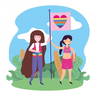 Donne che sostengono lgtbi march