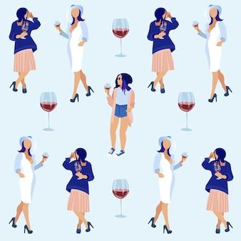 Donne che tengono i vetri con vino rosso e parlare.