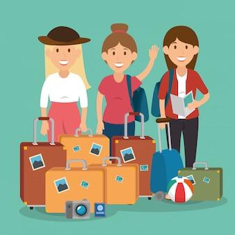 Donne che viaggiano con personaggi di valigie