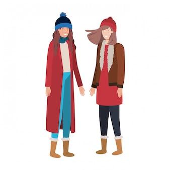 Donne con abbigliamento invernale personaggio avatar