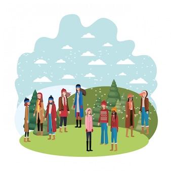 Donne con abiti invernali e pini invernali personaggio avatar