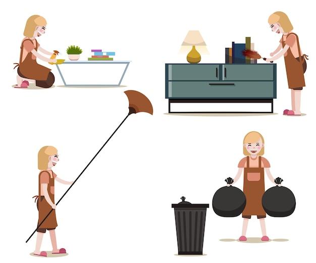 Donne con attrezzature per la pulizia vettore isolato