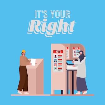 Donne con casella di voto e cabina con il suo design del testo giusto, tema del giorno delle elezioni.
