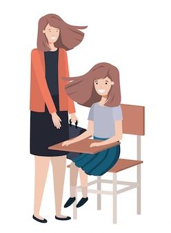 Donne con il personaggio di avatar di banco di scuola