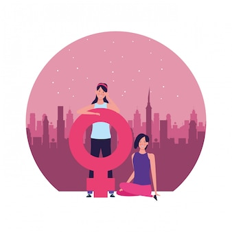 Donne con l'illustrazione rotonda di simbolo femminile