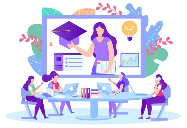 Donne con laptop seduti al tavolo davanti al monitor. insegnante donna dà lezione online.