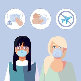 Donne con maschere mediche e set di icone