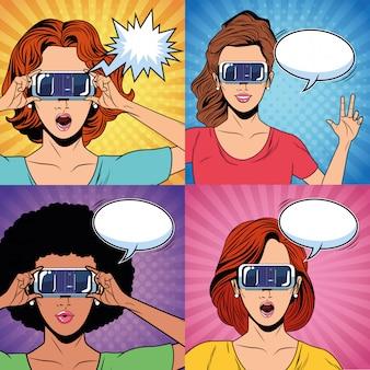 Donne con occhiali per realtà virtuale