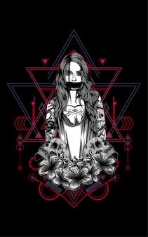 Donne con tatuaggio e teschio