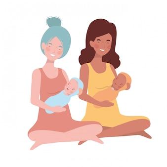 Donne con un neonato in braccio