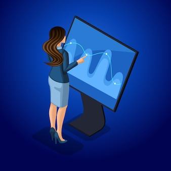 Donne d'affari con gadget, giovane imprenditore, gestisce gadget attraverso lo schermo virtuale online. illustrazione