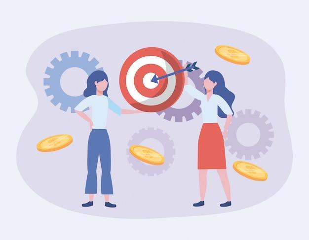 Donne d'affari e bersaglio con freccia e monete con ingranaggi