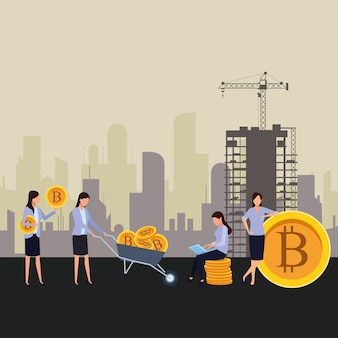 Donne d'affari in possesso di criptovaluta