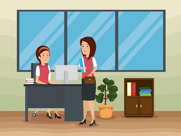 Donne d'affari in ufficio